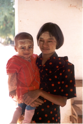 Mother & son wearing homemade sunblock Cambodia